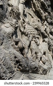 Stone carving, located in Lingyin Temple of Hangzhou City, Zhejiang Province, China.
