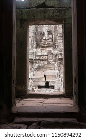 Stone carving at the temple of Angkor Thom, Siem Reap, Cambodia