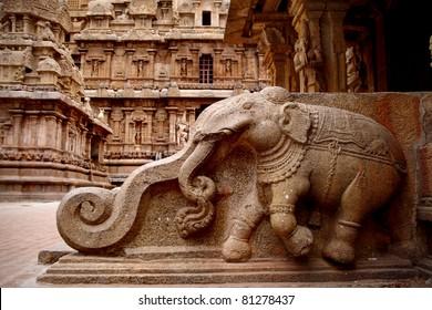 Stone carvings in Hindu temple,Thanjavur, Tamil Nadu, India