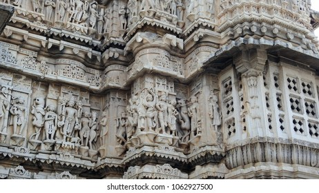 Stone carvings at Jagdish Temple, Udaipur, Rajasthan State, India. This 79 feet high temple has been in continuous worship since 1651.