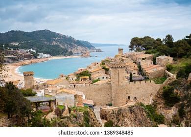 Stone castle and fortress on tourist track in Tossa de Mar, Costa Brava, Catalonia, Spain