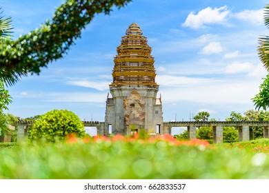 Stone castle Model at Koh Klang nam public park in Sisaket, Thailand.