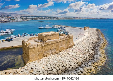 Stone castle off coast of Cyprus. Attractions of city of Paphos. Castle off coast Paphos. Parto castle next to harbor. Byzantine fort in Cyprus. Excursions in  Paphos. Mediterranean coast landscape