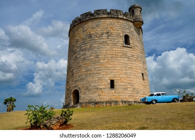 Stone castle watchtower hiding a water tower in Varadero, Cuba - April 8, 2014: