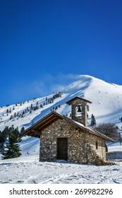 Stone chapel in Kalavrita ski center, Helmos mountain, Greece