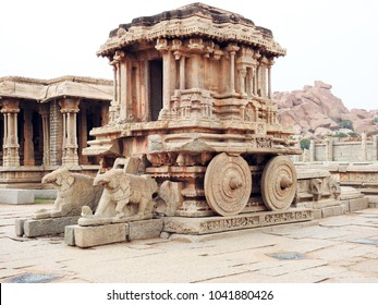 Stone Chariot, a Garuda shrine, is in the courtyard of Vittala temple complex at Hampi - a UNESCO World Heritage Site located in Karnataka, India.