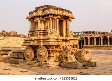 Stone chariot at the Vittalla temple, Hampi, Karnataka, India