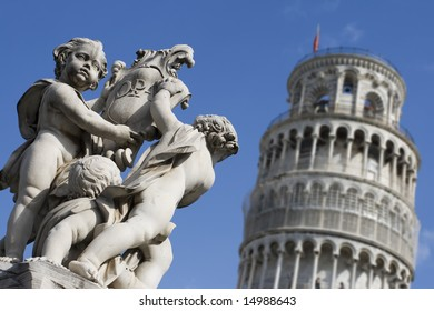 Stone Cherubs at the Leaning Tower of Pisa