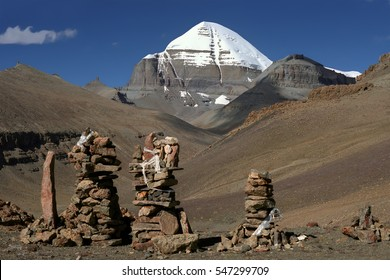 Stone Chirtens at the South Face of sacred Mount Kailash in Tibet.