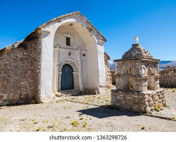 Stone church of the village of Sajama. The small Andean town of Sajama, Bolivian Altiplano. Its main economic activity is llama grazing and mountain tourism. South America
