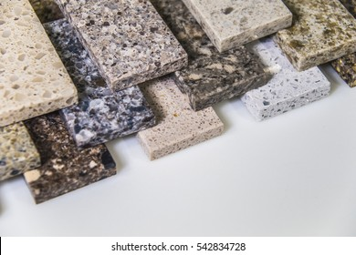 Stone color samples for kitchen countertops and floor tiles