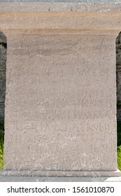 Stone column, with engravings, found in the archaeological area of Paestum