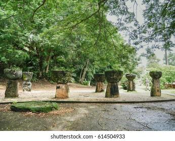 Stone column group at Latte Stone Park in Guam, USA. Ruins representative of Chamorro culture