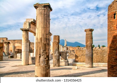 Stone columns in Forum in the archaeological excavations of Roman Pompeii near Naples, Campania, Italy One of the main tourist attractions in Italy.