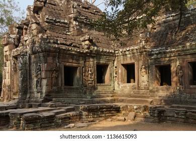 Stone columns of temple at Ta Prohm,  Cambodia
