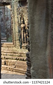 Stone columns and walls of temple at Banteay Kdei, Cambodia