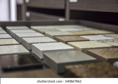 Stone countertop sample colors of quartz, granite and marble
