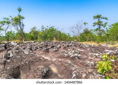 Stone courtyard Lan Hin Teak, Phu Hin Rong Kla National Park, Phitsanulok Province, Thailand