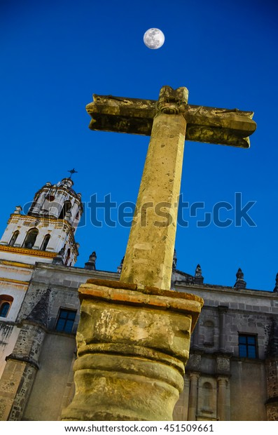 Stone Cross at the entrance to San Juan Bautista Parish, Coyoacan. Built between 1520 and 1552, it is one of oldest churches in Mexico City
