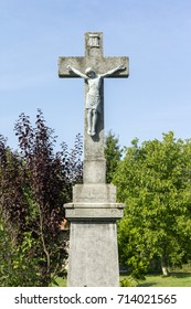 Stone cross in Holloko, Hungary
