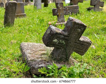 Stone crosses on cemetery
