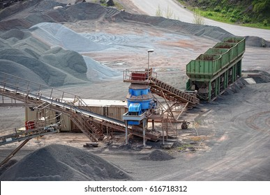 stone crusher machine in an open pit mine. mining industry
