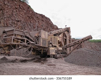stone crusher in porphyry surface mine. hdr image