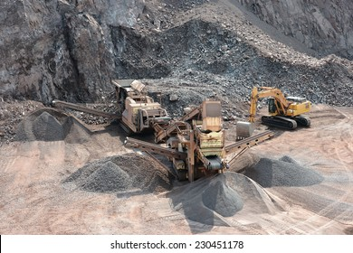 stone crusher in surface mine quarry