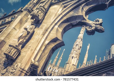 Stone decoration of the roof of Milan Cathedral (Duomo di Milano), Italy. Milan Duomo is the fifth largest church in the world. Luxury rooftop of Duomo.