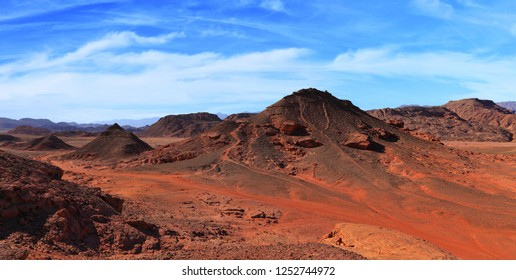 Stone desert and rocks landscape of Timna national nature and geological park. Israel.