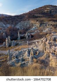 The Stone Dolls or Kuklitsa, near Kratovo. Captured by a fujifilm mirrorless camera at sunset.