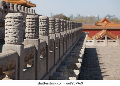 Stone Dragons inside the Forbidden City in Beijing, China.