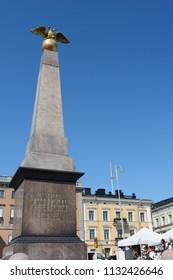 Stone of the Empress obelisk in Market Square, Helsinki. It is the oldest public memorial in Helsinki and commemorates Empress Alexander's first visit to Helsinki in 1833.