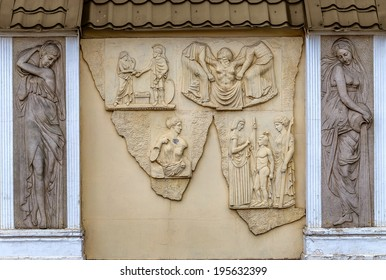 stone facade fresco decoration scenes from ancient Greek myths