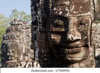 Stone face at Bayon, Siem Reap, Cambodia