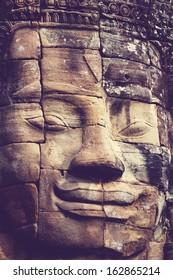 Stone face at Bayon Temple at Angkor Wat,Cambodia