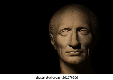 stone face of a man (studio photo plaster sculptures)