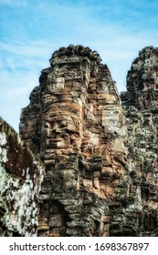 Stone faces of Bodhisattva at Bayon temple, Siem Reap, Cambodia