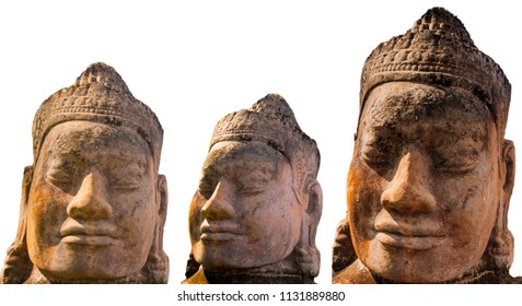 Stone Faces on a White background, siem reap, Cambodia