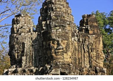 Stone faces of South Gate, Angkor Thom, Angkor area, Siem Reap, Cambodia