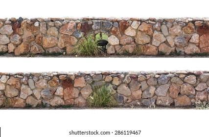 stone fence on white background.