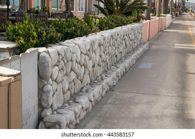 stone fence in perspective view