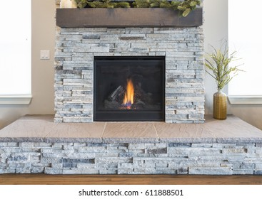 Stone Fire Place and Hearth