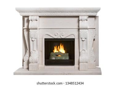 Stone fireplace with burning wood inside isolated on white background