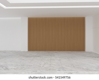 Stone floor, wooden wall covering and white wall. 3D rendering