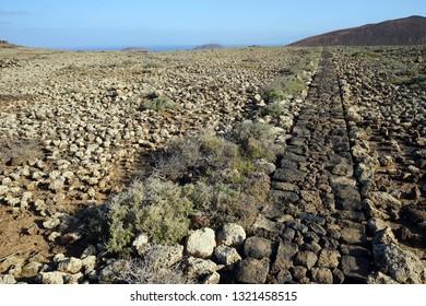 Stone footpath on the Fuerteventura island, Spain