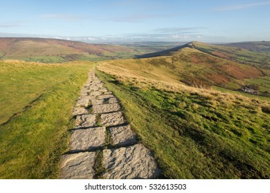 Stone footpath running along the hill tops from Mam Tor to Hollins Cross near Castleton in the Peak District, Derbyshire, UK.