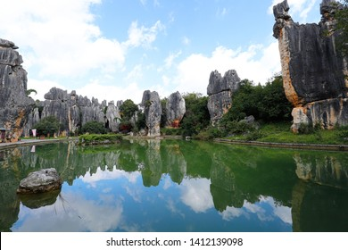 The Stone Forest landscape in Yunnan. This is a limestone formations located in Shilin Karst area, Yunnan, China. Yunnan, China - November, 2018