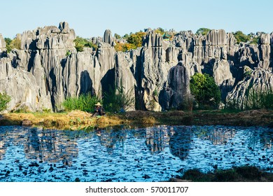 Stone Forest in Shilin, Yunnan Province, South China, not far from the provincial capital Kunming. It is the world-famous natural area of limestone formations and UNESCO World Heritage Site.