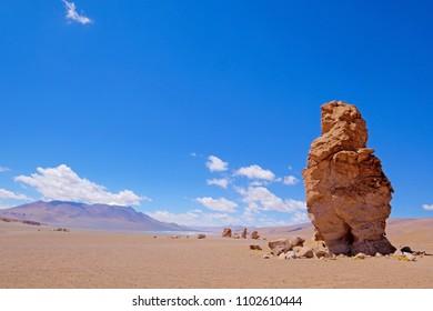 Stone formation Pacana Monks, Monjes De La Pacana, The Indian Stone, near Salar De Tara, Los Flamencos National Reserve, Atacama Desert, Chile, South America